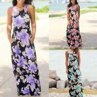 Fashion Women Sleeveless O-Neck Floral Print Maxi Loose Long Dress with Pockets