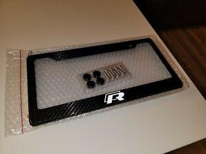 VW Golf R 100% Carbon Fiber License Plate Frame + Screw Caps