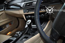 FOR RENAULT MEGANE II 02+ PERFORATED LEATHER STEERING WHEEL COVER BLUE DOUBLE ST