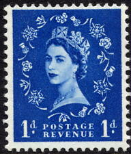 1960 1d azul ultramar Spec S20 coronas wmk fósforo reaccionar Verde Wilding estampillada sin montar o nunca montada