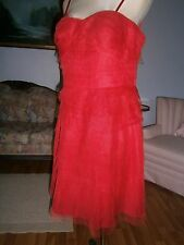 Adrianna Papell Dress Sz 14 Strapless Red Layered Tulle Party Evening Dress