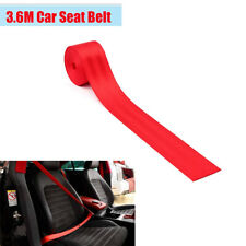 Red Polyester Fiber Racing Car Front Safety Seat Belt Replacement 3.6m Universal