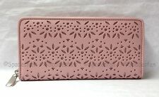 Coach 50673 Taylor Eyelet Leather Accordion Zip Around Wallet PINK TULLE NWT