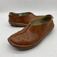 El Naturalista Womens (7.5 - 8) US 38 EU Brown Leather Slip On Clog Stitched