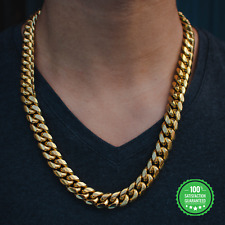 Miami Cuban Link Chain 1ct Diamond Clasp 14k Yellow Solid Gold Heavy Necklace