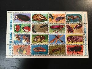 1973 EQUATORIAL GUINEA INSECTS - SOUVENIR SHEET OF 16 STAMPS