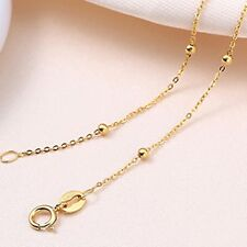 Pure Solid 18k Yellow Gold Necklace Women Luck Smooth Bead With O Chain 16.5inch