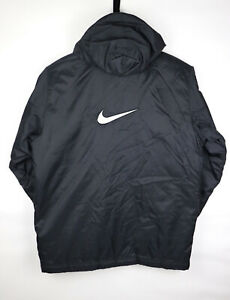 Nike Vintage 90s Mens Jacket Full Zip Padded Coat Hooded Swoosh Black M Medium