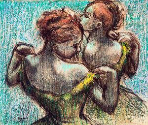Two Dancers Half Length by Edgar Degas 60cm x 50.8cm High Quality Canvas Print