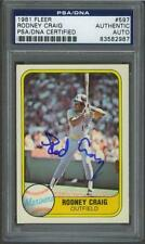 Rodney Craig signed Seattle Mariners 1981 Fleer baseball card Psa