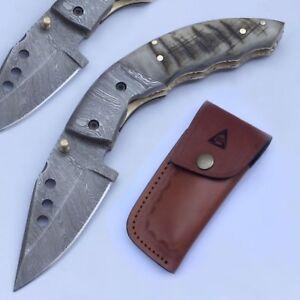 Natural Ram Horn handle Folding Knife Damascus Steel Linear Lock Bikers Knife