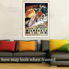 Vintage art poster motorcycle track races USA 1926 painting for glass frame 36""