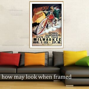 """Vintage art poster motorcycle track races USA 1926 painting for glass frame 36"""""""