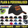 Baseball Cap Personalised Plain - Any Name - Custom Caps Hats Accessories Hat