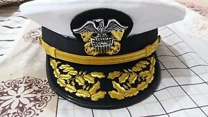 New WWll US Navy Officer Hat , US Navy Admiral Cap Repro In All Sizes