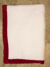 White Baby Blanket Red Edge Trim Soft Plush Lovey Crib Security Bedding