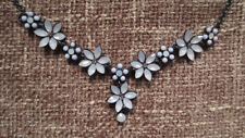Black Necklace with white flowers Never used burlesque / pinup