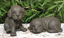 sculpture en pierre chiots Set Statue de chien