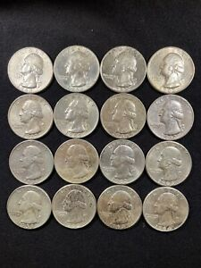 16- Washington Quarts pre 1964 90% silver -LOT 450