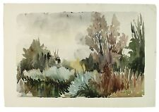 Rushes on the River Whitewater Hampshire Landscape Watercolour Painting Harrison