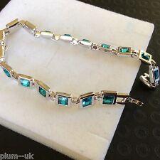 "GB Aquamarine square inset gems 7.25"" white gold filled bracelet BOXD PlumUK"