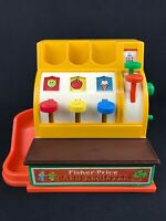 Vintage 1974 FISHER PRICE Yellow Cash Register #926 Works! No Coins
