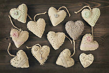 STUNNING SHABBY CHIC STYLE MATERIAL HEARTS CANVAS #767 CANVAS PICTURE WALL ART