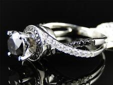 14K Ladies White Gold Black Diamond Solitaire Engagement Ring Set 2.5 Ct