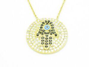 18KT GOLD STERLING SILVER DIAMOND SET WHITE & BLACK SAPPHIRE HAMSA HAND PENDANT