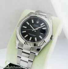 ROLEX MENS DATEJUST II BLACK 18K GOLD AUTOMATIC SWISS 41mm WATCH 116334 R: $9100
