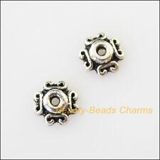 50Pcs Tibetan Silver Tone Heart Cone End Bead Caps Connectors 7mm