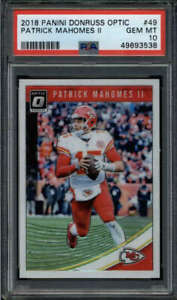 PATRICK MAHOMES II 2018 DONRUSS OPTIC #49 PSA 10 GEM MINT 2ND YEAR BASE FC8690