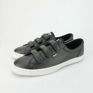 KEDS Tiebreak Womens Black Leather Hook Loop 3 Straps Sneakers Shoes Size 11 M