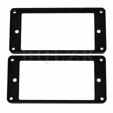 2 x Black Electric Guitar Flat Humbucker Pickup Frame Cover Plate Mounting Rings