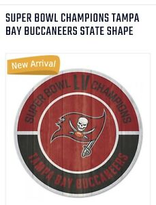 """Super Bowl LV Tampa Bay Buccaneers Champions Distressed Wood  Sign  11x17"""""""