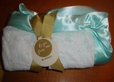 New to you from me Aqua Teal Blue Turquoise Velour Baby Crib Blanket Satin Trim
