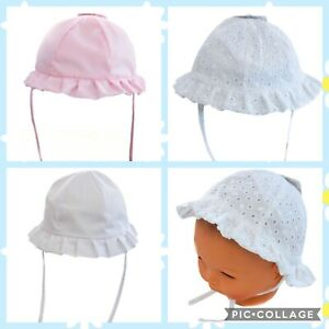 2 x  SUN HATS 6-24 Months In Salmon Pink