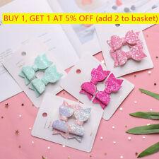 2pcs/set Cute Mini Double Layer Glitter Bow Kids Hair Clips Sequins Headdress,