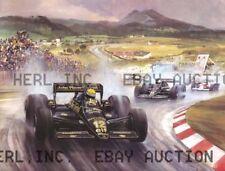 Racing drawing Ayrton Senna 1985 Renault automobile ca 8 x 10 print prent poster