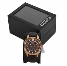 Guess Mens 'PRIME' Quartz Watch W0660G1 - Brown Leather Strap / Rose Gold Colour