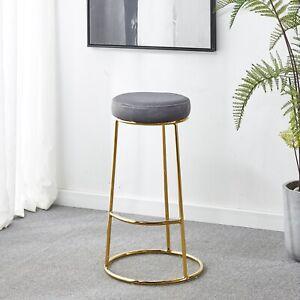 2x Bar Stool Round Velvet Gold Chrome Leg Breakfast Bar Kitchen Stool Modern