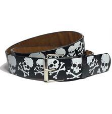 "Skull And Bones Men Graphic Belt Size L ( 37"" ) Snap on Buckle New"