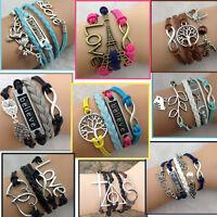 Sale Women Vintage Multilayer Braided Bracelet Charm Hollow Chain Cuff Bangle