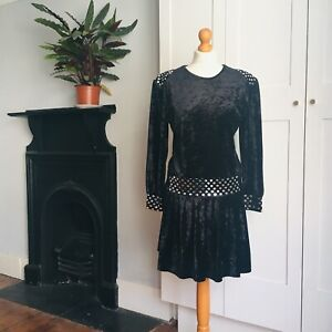 Vintage 90s Black Crushed Velvet Drop Waist Long Sleeve Mirror Circles Dress 12