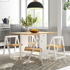 Savoy Folding Drop leaf Butterfly Dining Set with Table 4 Chairs White/ Natural