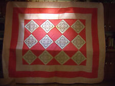 BEAUTIFUL SHADES OF PINK QUILT WITH EMBROIDERED FLOWERS - QUEEN/KING SIZE - #49