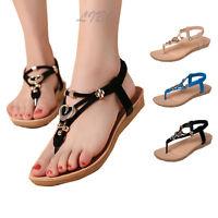 Women T Strap Thong Flat Sandals Bohemia Beach Gladiator Slingback Shoes Slipper
