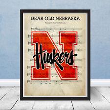 University of Nebraska Logo Fight Song Sheet Music Art Decor Gift Cornhuskers