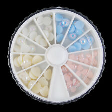 75Pcs/Box Nail Art Pearl Beads Heart Round Design Gems Crafts 3D Decoration