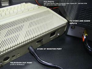 6' Atari Video Monitor TV Cable (Composite Video + Audio) 520ST / 1040ST